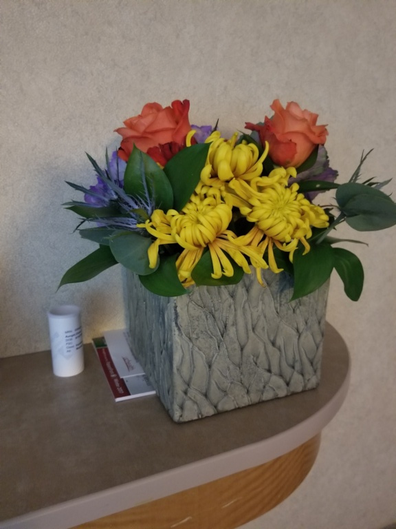 Gorgeous flowers from Karla and Tisa (and DME - walker, cold pump